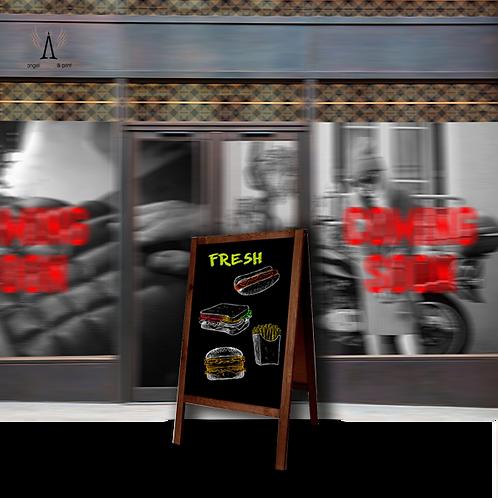 1 A-Frame Chalk Board Sign, 1000mm H x 600mm W, 600mm x 500mm Display area.