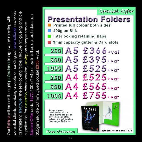 500 A5 Presentation Folders, printed full colour both sides.