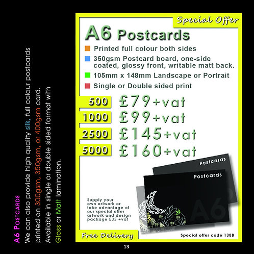2500 A6 Post Cards printed full colour both sides.