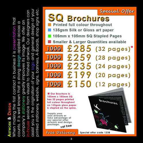 1000 Square Brochures 28 pages, 105mmx105mm