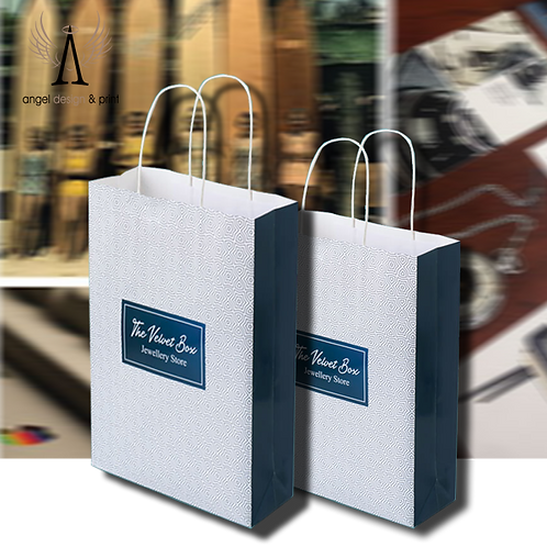 250 Twist Handle Paper Bags, 240mm W x90mm D x 320mm H printed full colour