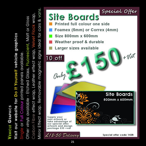 10 Site Boards 800mm x 600mm Full Colour Print