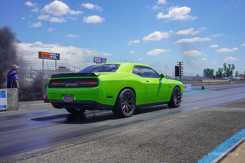 The Hellcat lining up for its first run down the drag strip.