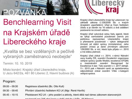 Pozvánka na Benchlearning visit na Krajském úřadě Libereckého kraje, 10. 10. 2019