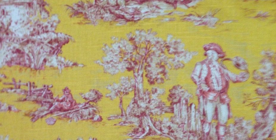 Yellow Pink and White Toile