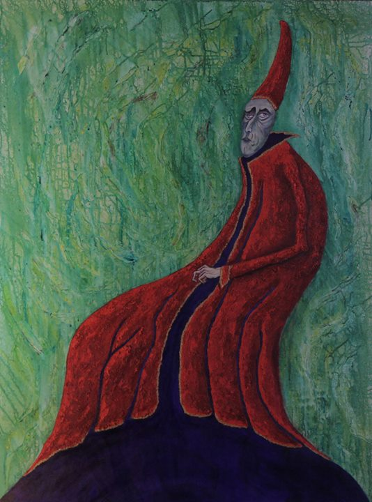 Bishop, large acrylic mixed media