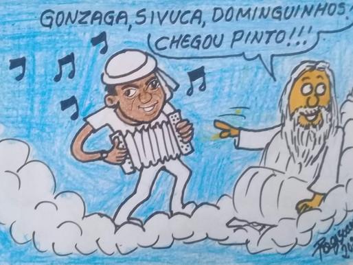 Artista Paraibano Regis Soares retrata em charge a chegada de Pinto do Acordeon no Céu