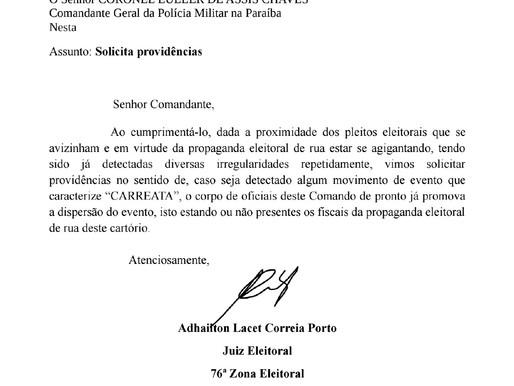 Juiz do TRE-PB encaminha ofício ao comando da PM proibindo carreatas em João Pessoa
