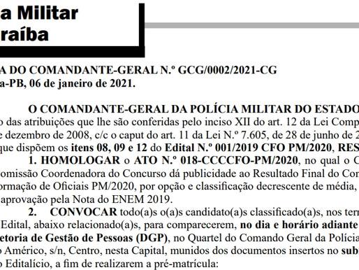 Comando-geral da Polícia Militar divulga resultado final do CFO 2020; confira