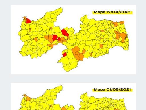 Covid 19: Paraíba atinge 100% dos municípios com bandeiras laranjas e amarelas