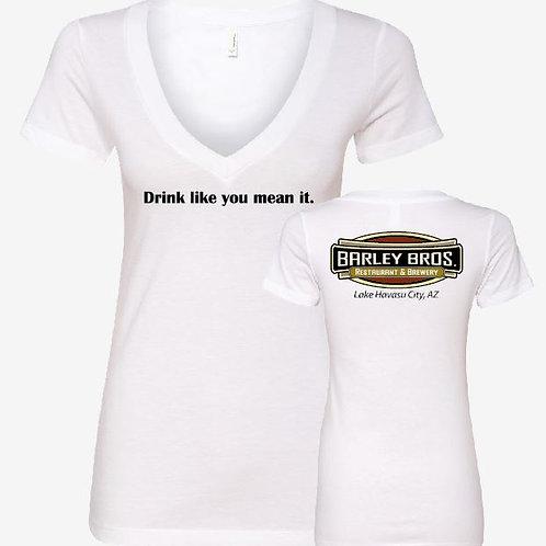 Retail Ladies V-Neck (WHITE)