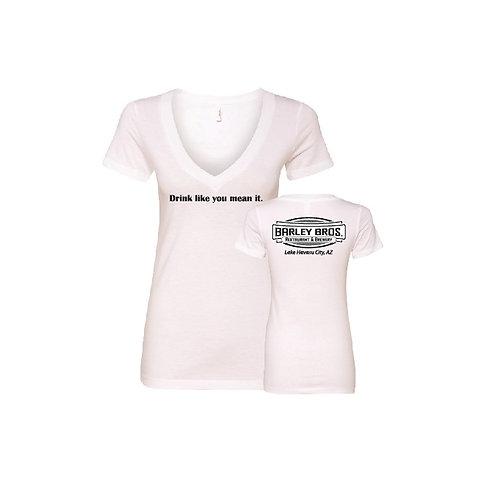 Retail Ladies V-Neck White