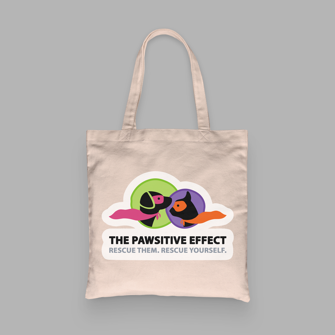 THE PAWSITIVE EFFECT CANVAS TOTE BAG DES