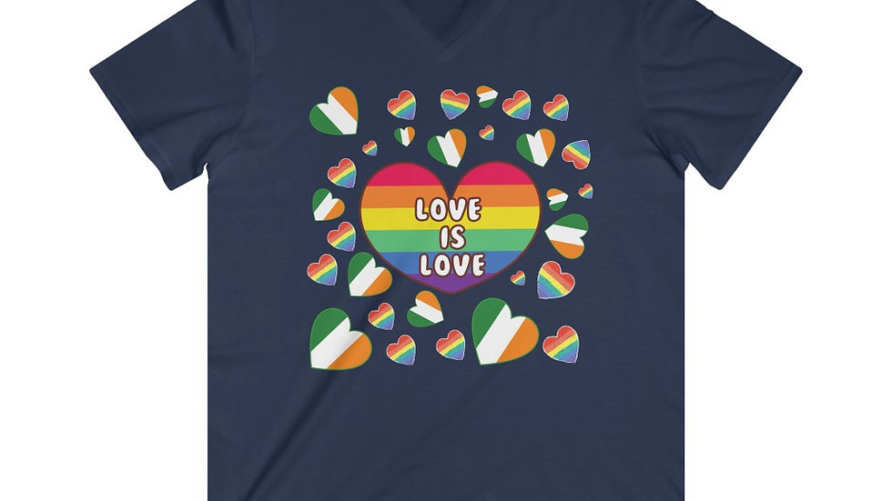 LOVE IS LOVE (IRELAND) Men's Fitted V-Neck Short Sleeve Tee