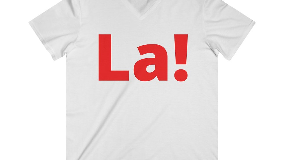 La! Fitted Lightweight V-Neck T-Shirt (Red Text)