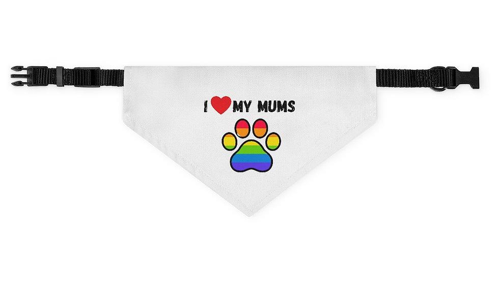 I LOVE MY MUMS Pet Bandana Collar (rainbow)