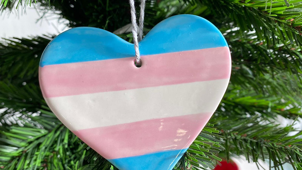 Trans Flag Ceramic Decorations/Pendants