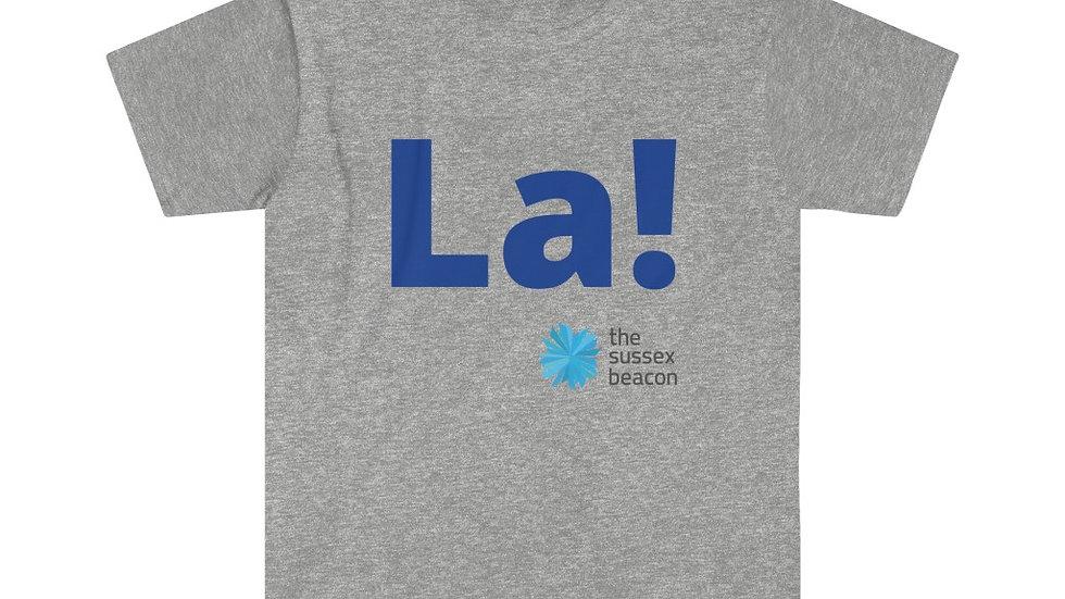 La! Unisex Softstyle T-Shirt (Blue Text)