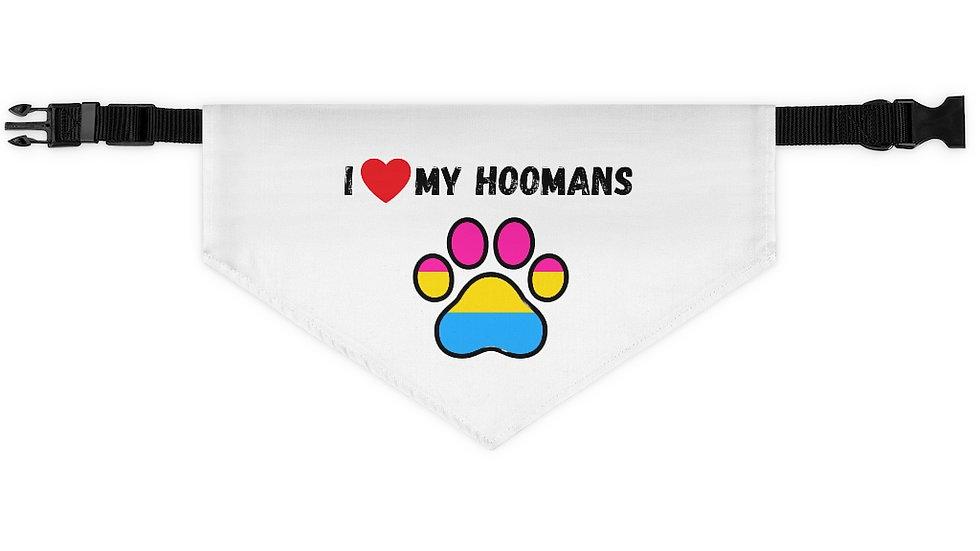 I LOVE MY HOOMANS Pet Bandana Collar (pansexual)