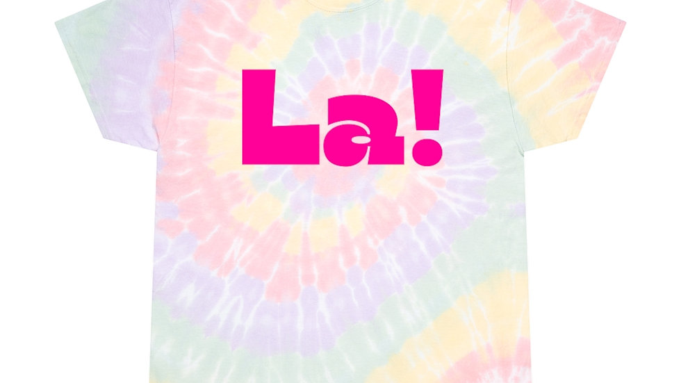 La! Unisex Softstyle T-Shirt (80's Text, Pastel Tie Dye)