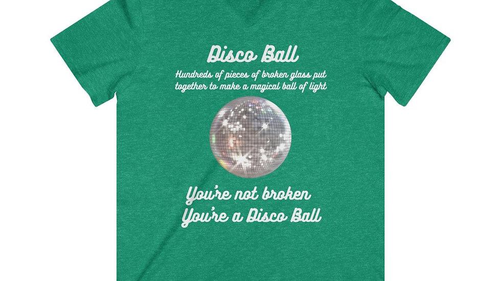 Disco Ball Mens Fitted Lightweight V-Neck T-Shirt