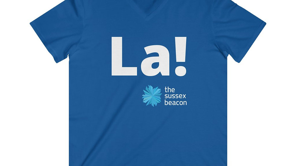 La! Fitted Lightweight V-Neck T-Shirt (White Text)