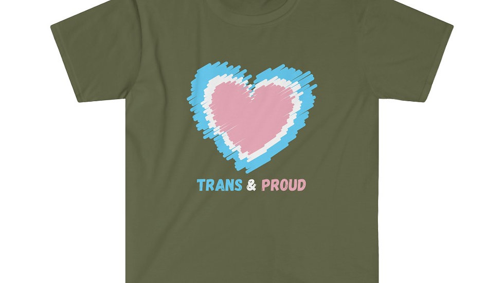 TRANS AND PROUD (HEART VERSION) Unisex Softstyle T-Shirt (US)