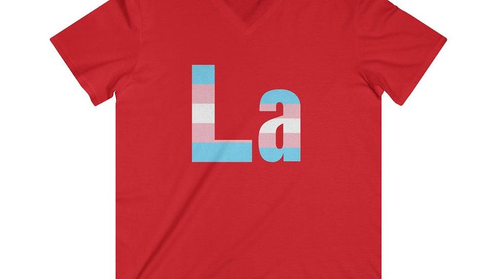 La! Fitted Lightweight V-Neck T-Shirt (Trans Flag Text)