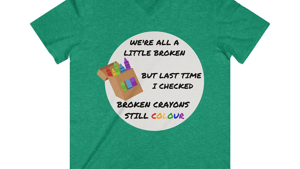 Broken Crayon Mens Fitted Lightweight V-Neck T-Shirt