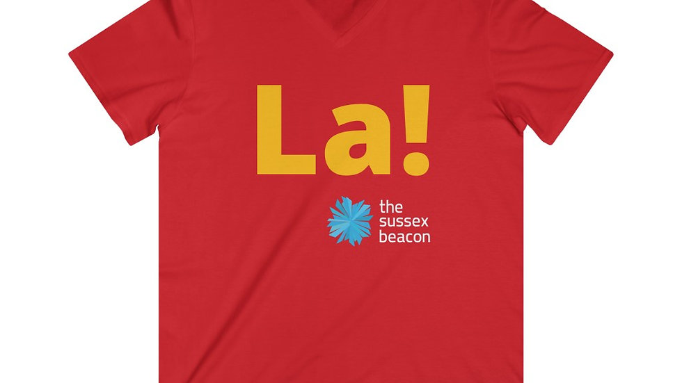 La! Fitted Lightweight V-Neck T-Shirt (Yellow Text)
