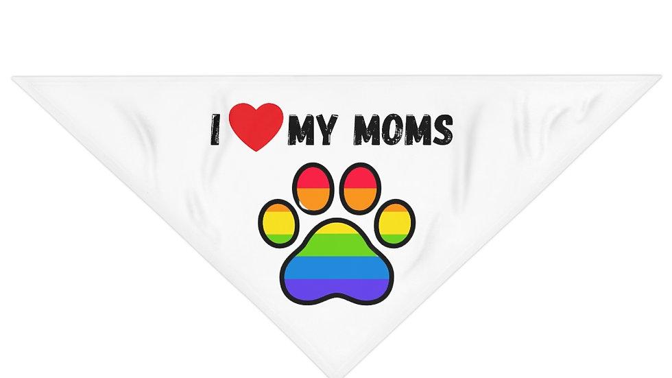 I LOVE MY MOMS Pet Bandana (rainbow)