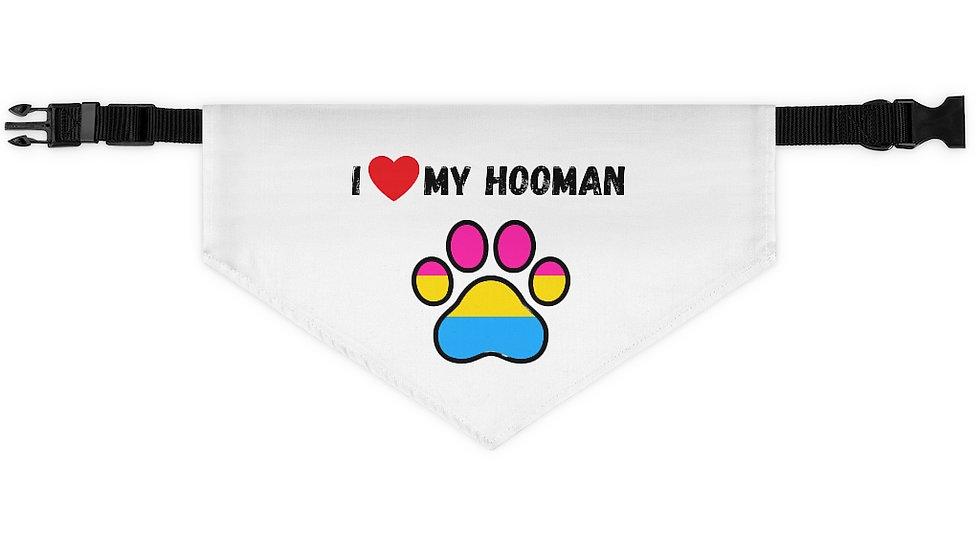 I LOVE MY HOOMAN Pet Bandana Collar (pansexual)