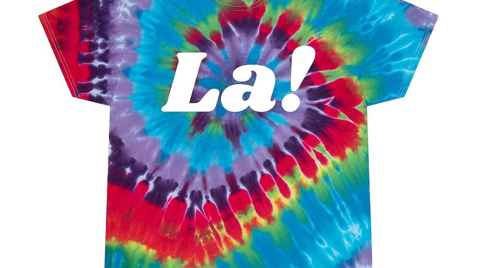 La! Unisex Softstyle T-Shirt (80's Text, Dark Tie Dye)