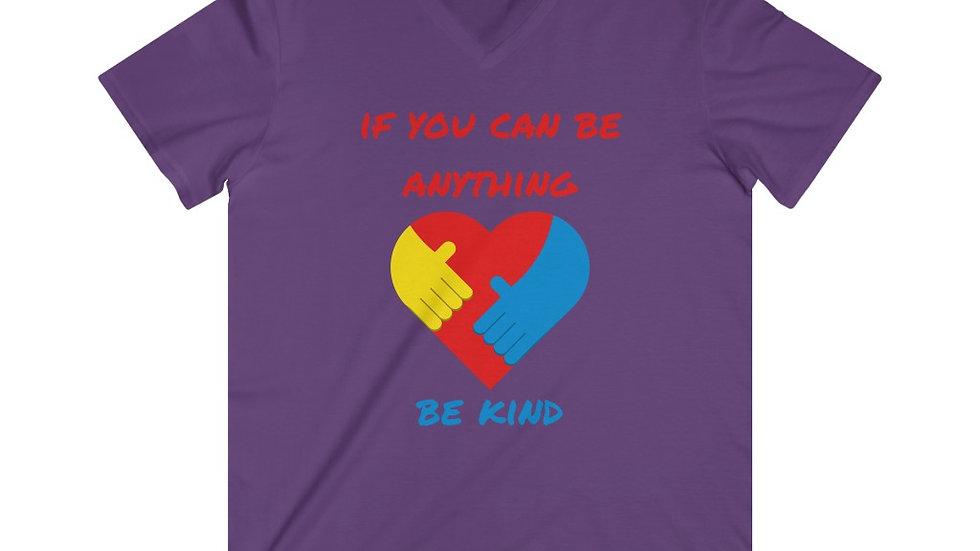 Be Kind Mens Fitted Lightweight V-Neck T-Shirt
