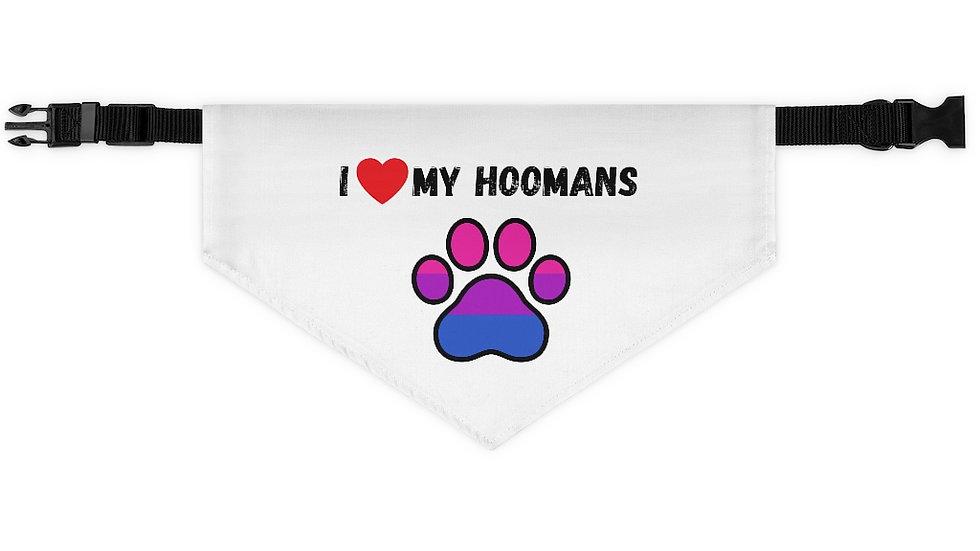 I LOVE MY HOOMANS Pet Bandana Collar (bisexual)