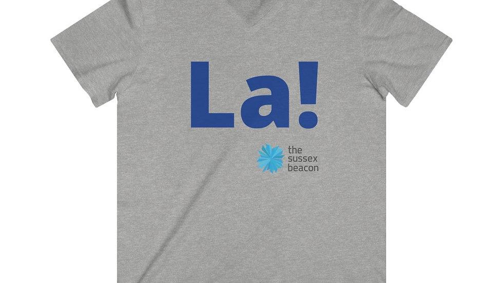 La! Fitted Lightweight V-Neck T-Shirt (Blue Text)