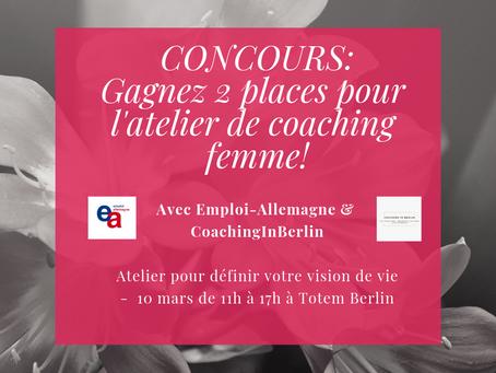 Gagnez 2 places pour l'atelier de Coaching femme le 10 mars ?