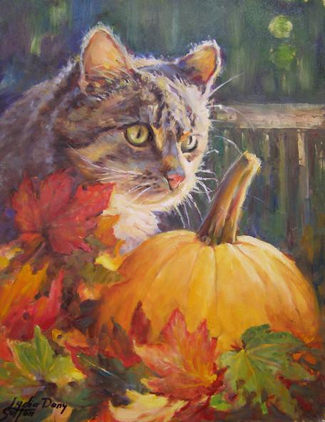 Cat and Pumpkin   11 x 14 Oil  framed  $