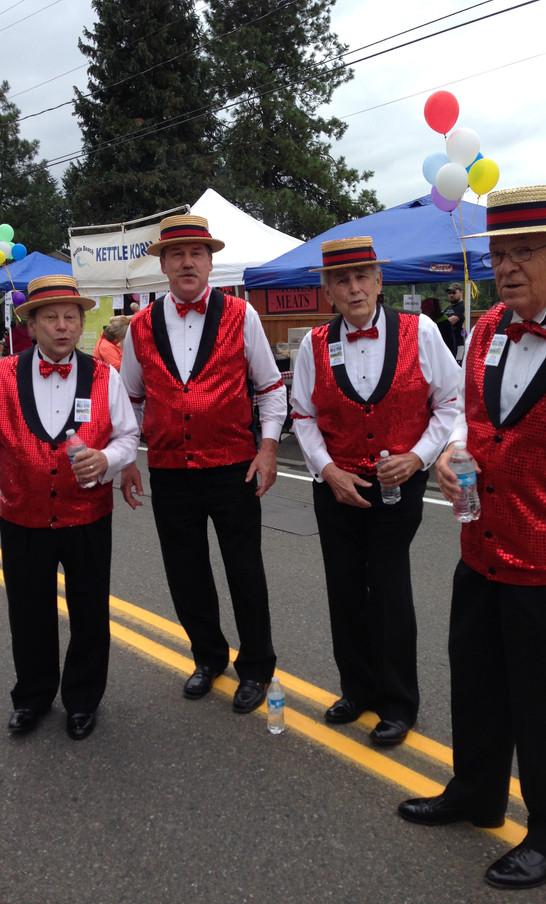 Hired Barbershop Quartet, with help of sponsor