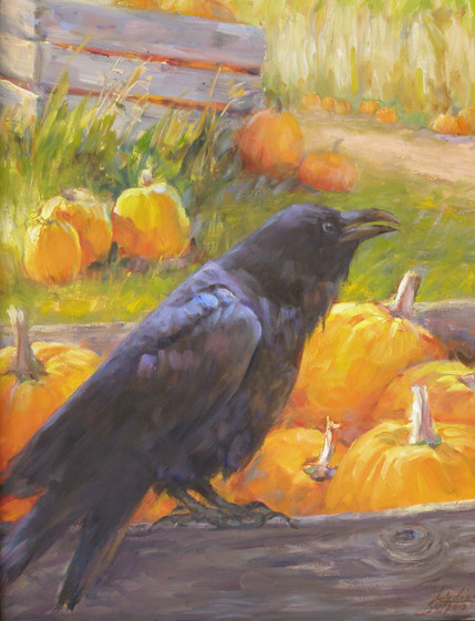 Raven and Pumpkin  11 x 14 Oil   framed
