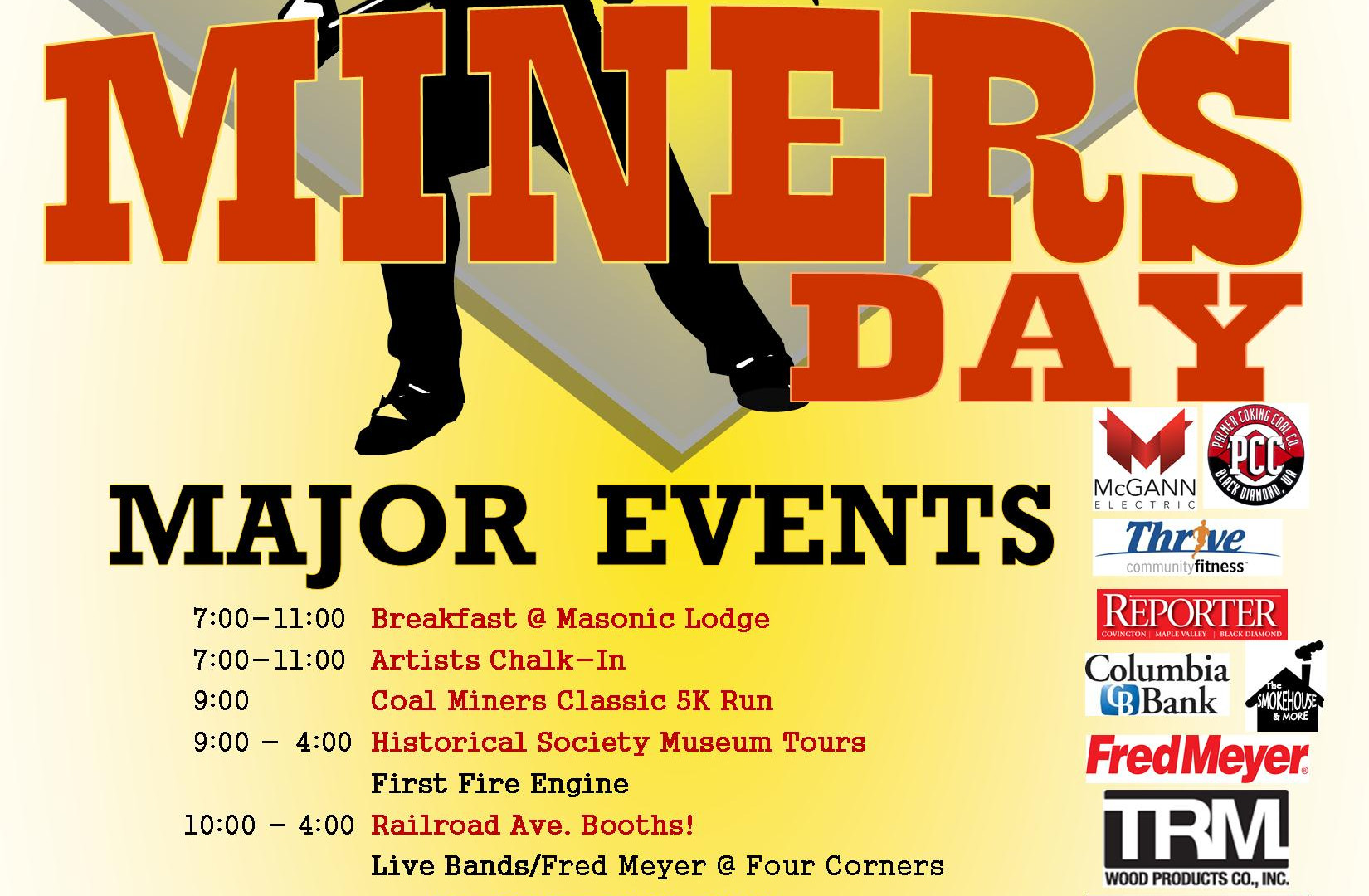 Miner's Day poster; schedule of events and sponsors.