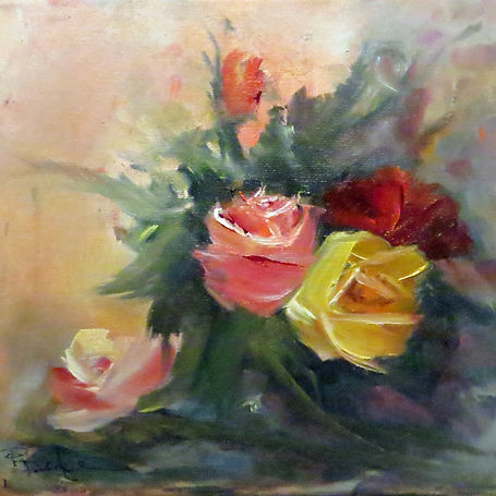 Patricia Doyle Mixed Roses    8x8    Oil