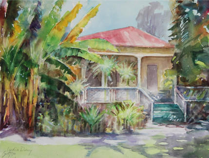 Plantation house   16 x 20  Water Color