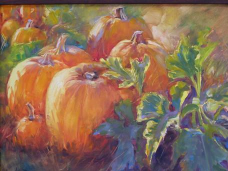 Pumpkin Patch  11 x 14 Oil   framed  $ 3