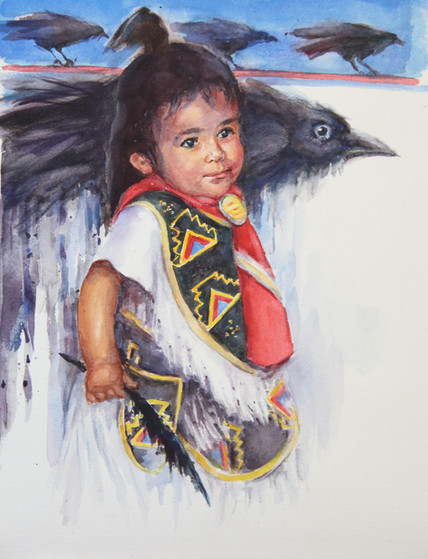 Little Raven girl   16 x 20   Water Colo