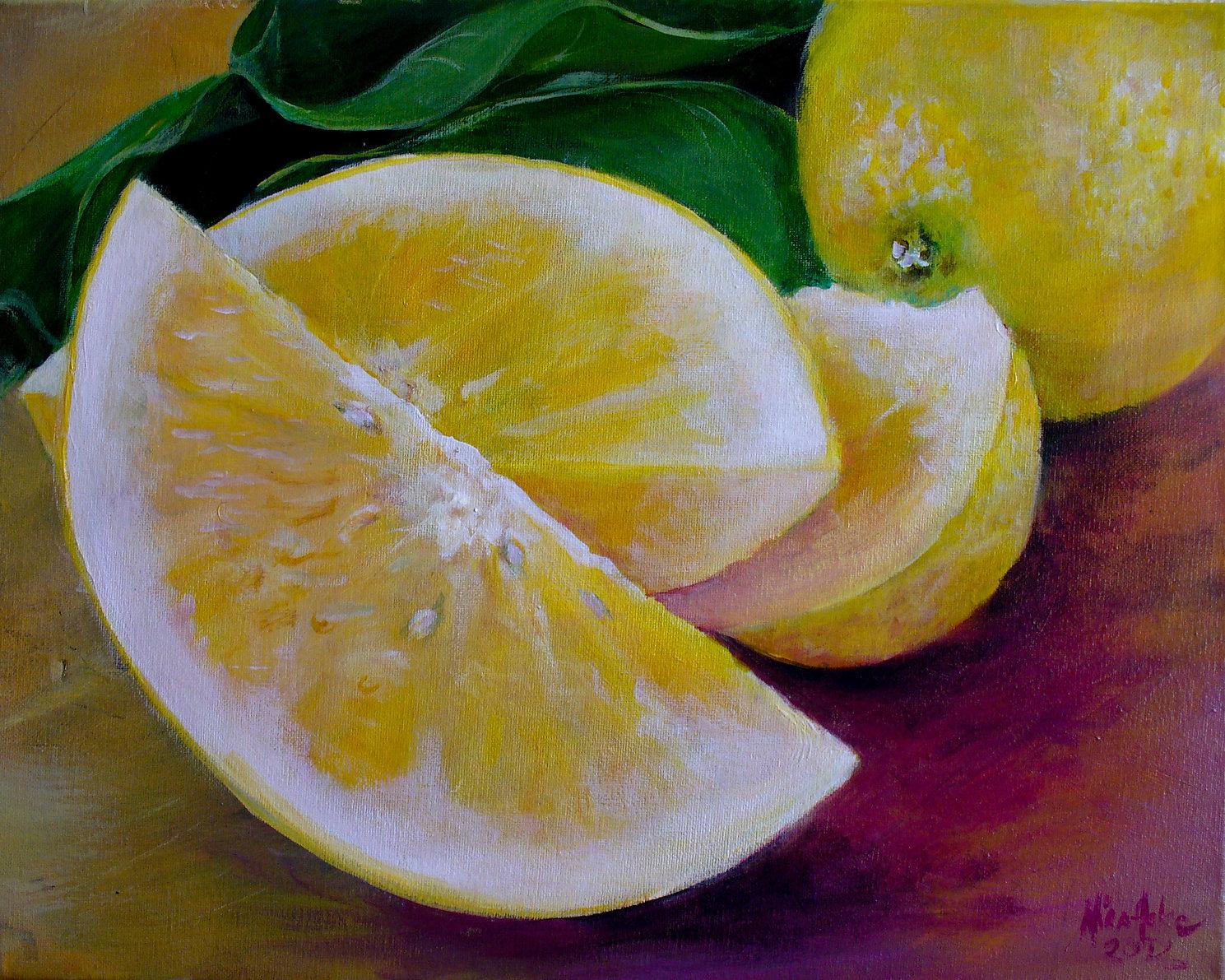 lemons 4_edited.jpg Lemons and Basil  Acrylic Paintings   Mira Hoke  Black Diamond, WA
