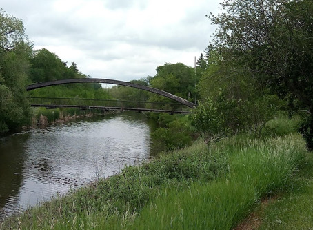 From bridge to bridge to bridge in Kiwanis Waterfall Park and Rotary Park