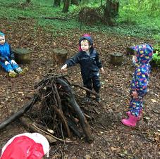 Making a camp fire.