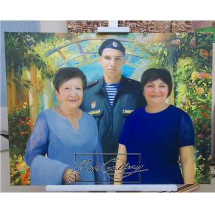 Семейный портрет на холсте