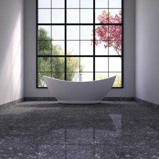 Floor with Black Pearl marble